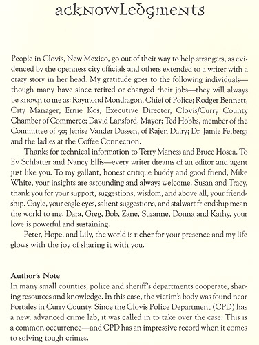 The Clovis Incident Acknowledgment Page