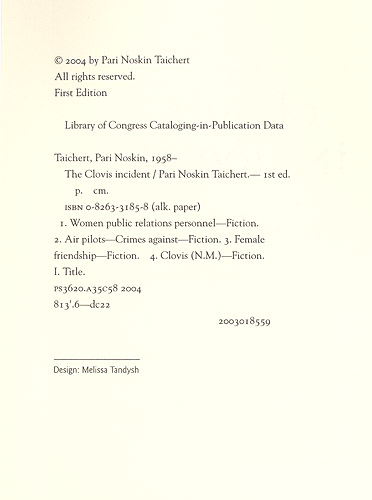 The Clovis Incident Copyright Page