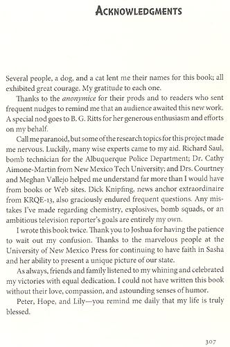 The Socorro Blast Acknowledgment Page
